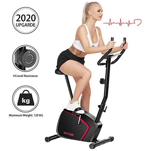 ANCHEER Bicicletta Fitness Verticale a 10 Livelli con Resistenza Magnetica, Cyclette per Esercizio con Display LCD/Supporto per Tablet/Impugnatura ad Impulsi, Carico Massimo: 265 Libbre (Nero)
