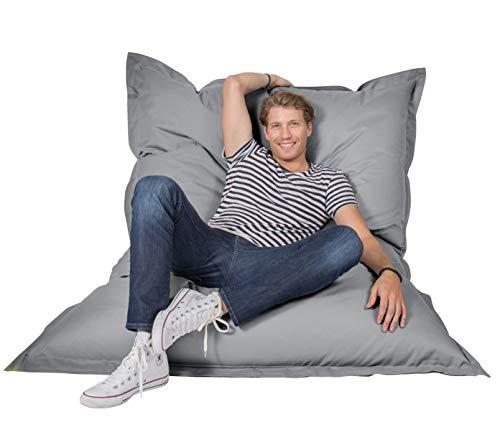 Lumaland Luxury Riesensitzsack XXL Sitzsack 380l Füllung 140 x 180 cm Indoor Outdoor Grau