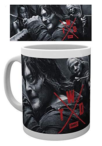 1art1 The Walking Dead, TWD Season 10 Group Daryl Carol and Michonne Foto-Tasse Kaffeetasse (9x8 cm) Inklusive 1x Überraschungs-Sticker