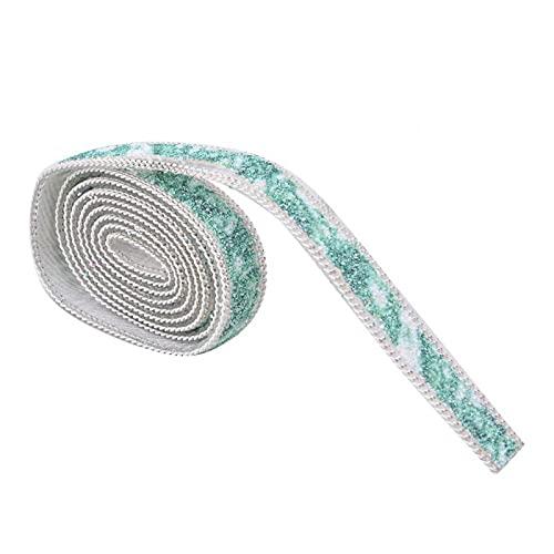 Cinta de diamantes de imitación de 1 yarda, adorno de cadena de cristal marmolado, cinta de Metal plateado para ropa, sombrero, decoración(verde)