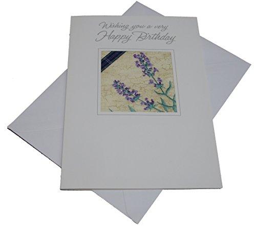 Ekard Geborduurde Schotse Heather Lavender Verjaardagskaart GRATIS UK POSTAGE