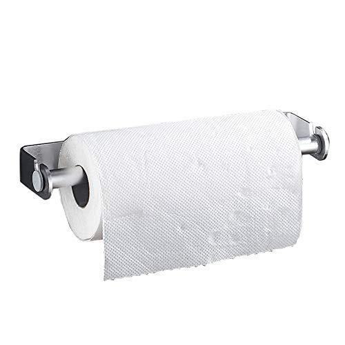 EEUK Portarrollos para Papel Higiénico Adhesivo, Dispensador de Película Porta Rollos, Multifuncional Portarrollos Porta Toallas, Aluminio (Plata/Negro) 22cm-Silver