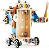 Hape Childrens S.T.E.M Wooden Tool Box 72-Piece Builder Set
