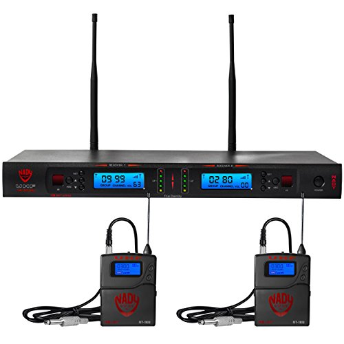 Nady 2W-1KU GT Dual True Diversity 1000-Channel Professional UHF Wireless System with 2 Guitar/Instrument Bodypacks – Autoscan – Automatic Transmitter Pairing – All Metal Construction