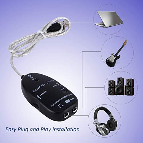 USB Guitar Cable, Professional Guitarra a USB Interface Cable Link Audio, Cable de Conexión para PC Adaptador de grabación/Adaptador de guitarra