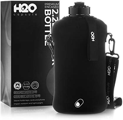 H2O Cápsula 2.2L Botella de agua de medio galón con funda de almacenamiento - Tritan BPA botella de agua grande sin BPA /2.2 litros (74 onzas) Big Sports botella jarra con asa