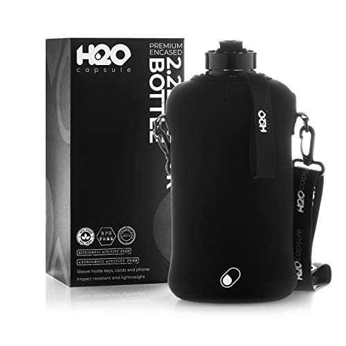 H2O Capsule 2.2L Half Gallon Water Bottle with Storage Sleeve – Tritan BPA Free Large Water Bottle/2.2 Liter (74 Ounce) Big Sports Bottle Jug with Handle (Jet Black)