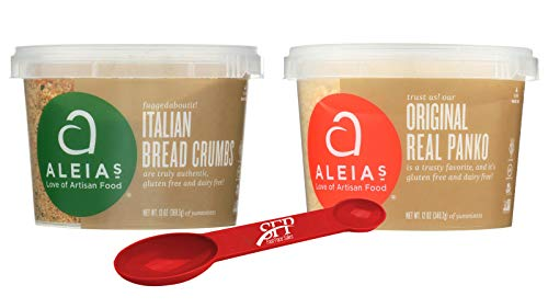 Aleias Gluten Free Variety Pack Includes: (1) Italian Bread Crumbs, Gluten Free Bread Mix, 13 Oz. and (1) Panko Gluten Free Bread Crumbs, 12 Oz, With a Measuring Spoon.