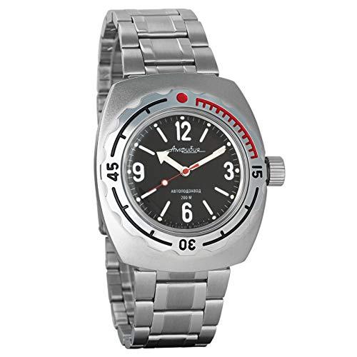 VOSTOK Anfibio ruso hombre mecánico automático 200WR reloj de pulsera #090660 (acero clásico)