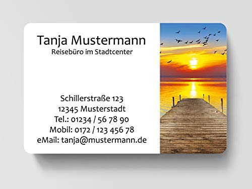 100 Visitenkarten, laminiert, 85 x 55 mm, inkl. Kartenspender - Steg Meer