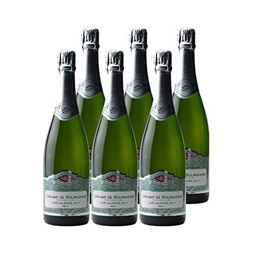 Crémant de Bourgogne Blanc de Blancs Cuvée Millésimée Brut Blanc 2017 - Les Chais Letourneau - Vin effervescent AOC Blanc de Bourgogne - Lot de 6x75cl - Cépage Chardonnay