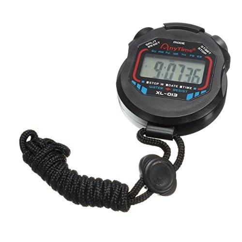 Toogoo (R) Orologio sportivo digitale LCD con cronometro, orologio multifunzione con timer, cordino nero