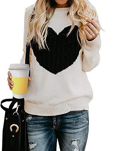 Tuopuda Maglione Donna Girocollo Maglioni Invernali Oversize Sweatshirt Manica Lunga Ragazza Pullover Logo del Cuore Caldo Top Casual Moda Knitted Bluse Natale Maglieria Eleganti