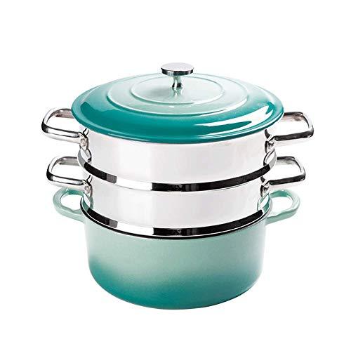 Cuiseur à vapeur à double couche, à vapeur en céramique, à vapeur multi-fonctions en acier inoxydable, à gaz à induction,Cuiseur Vapeur-blue