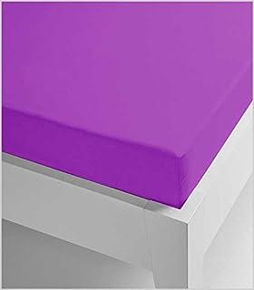 Miracle Home Drap housse élastique, doux et confortable, 50 % coton, 50 % polyester, aubergine, 90 x 200 cm