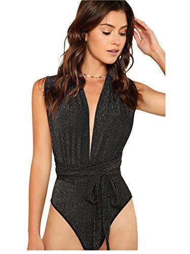 Verdusa Women's Sleeveless Sexy Deep V Neck Cross Back Bodysuit Black M