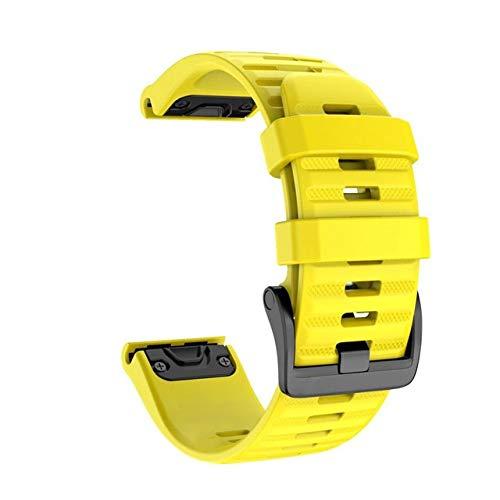 LLMXFC 26 22 20mm de Reloj de Reloj para Garmin Fenix 6X 6 6S Pro 5S Plus 935 3 HR WATCK Silicone RÁPIDO SILICONO EasyFIT Muñequera Correa (Color : Yellow, Size : 22mm Fenix 6 Pro)