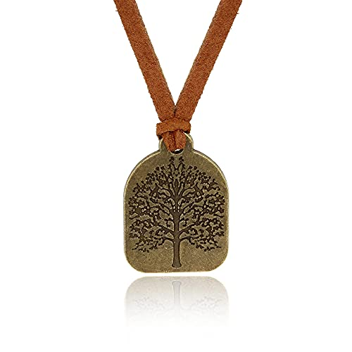 Baronyka Handmade Tree of Life Pendant Leather Necklace for Men, Bronze-Plated Brass, 24' with 2' Extension Brown Vegan Suede Leather Necklace, Easy Lobster Clasp, Spiritual Tree of Life Jewelry