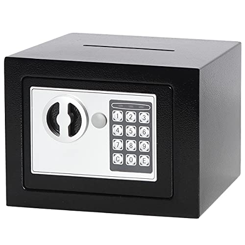 Parrency Security Digital Safe for Home Office,0.17 Cubic Home Keypad Safe,Protect Money,Jewelry,Passports Black