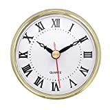 ShoppeWatch Clock Insert 80mm (3 1/8 inch) Roman Numerals Quartz Movement Clock Fit Up Round Gold Rim CK089GD
