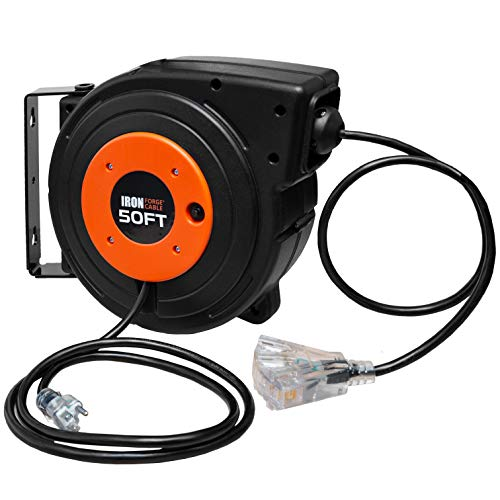 50 Ft Retractable Extension Cord Reel - 2 In 1 Mountable & Portable Power Cord Reel with 3 Electrical Outlets - 14/3 SJTW Heavy Duty Black Cable - Perfect for Hanging from Your Garage Ceiling