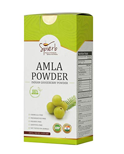 Spierb Amla Powder - 250 gm Immunity Enhance Keto-Friendly Indian Gooseberry Powder Super Food – De-seeded Non-Irradiated for Hair Growth NO Preservatives Non GMO - Pure Emblica Officinalis/Amalaki