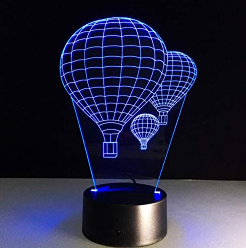 Zhoudd 3D Luz de Noche Vuelo en globo aerostático LED Luces De Ilusión 7 colores Touch mesa lámpara de mesa Usb Lámpara de Escritorio Regalos Perfectos para Niños Navidad