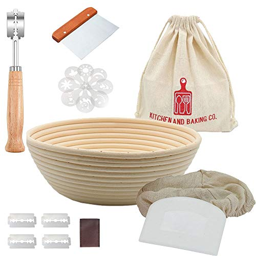 Banneton Bread Proofing Basket Set - 9 Inch Round Proving Bowl for Sourdough - Baking Supplies Include Linen Liner, Dough Scrapers, Bakers Lame and Stencils for Shaping and Scoring - Great Bakers Gift