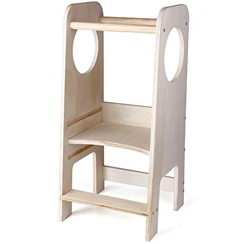 CRZDEAL Torre de aprendizaje de madera, silla de aprendizaje para niños pequeños, silla de aprendizaje, altura ajustable, ayudante de cocina