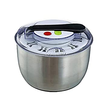 Large-capacity 4.7-Quart stainless steel push-type salad spinner easy to use used for washing and drying vegetables with one-button pause function