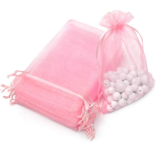 AKStore 100PCS 4x6' (10x15cm) Drawstring Organza Jewelry Favor Pouches Wedding Party Festival Gift Bags Candy Bags (Pink)