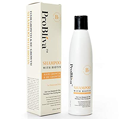 ProBliva Hair Growth Shampoo with Biotin - Shampoo for Thinning Hair & Hair Loss for Women and for Men - Thicker, Fuller, Longer Hair - with DHT Blockers - 8oz