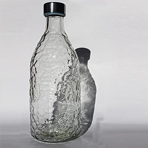 Botella de Cristal Transparente con Tapa, 1 Litro de Capacidad, Jarra de...