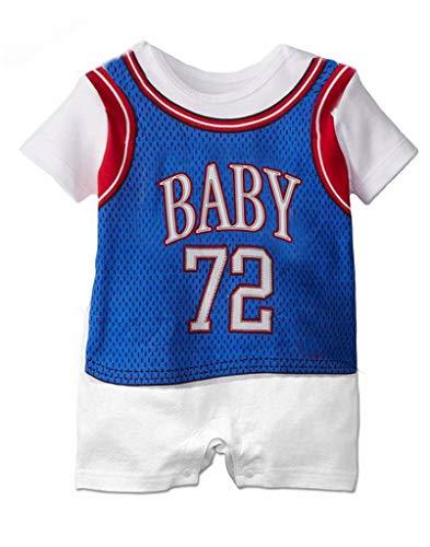 YiyiLai YiyiLai Kind Neugeborene Sommer Herbst Kurzarm Outfit Babykleidung Strampler Bodysuit Playsuit Kleidung Set 90 Blau