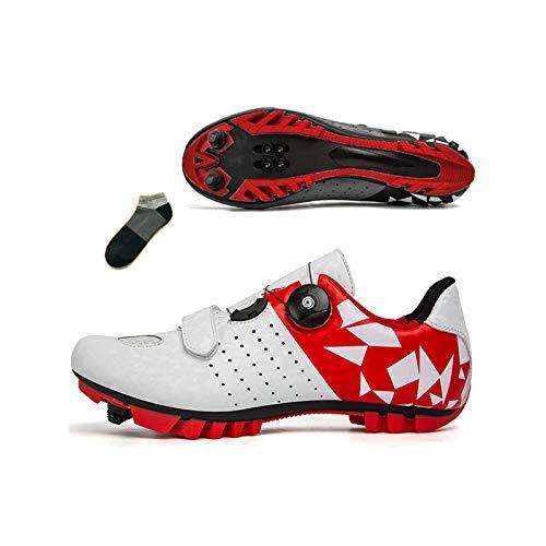 Bicicleta De Montaña para Hombre Zapatos De Ciclismo para Mujer Zapatos De Equitación Interior Y Al Aire Libre Fitness Sneaker Antideslizante Transpirable(Size:45-285mm,Color:Rojo)