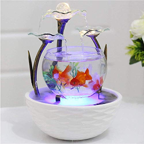 Home Accessories Transparent Lotus Leaf Glass Fountain Waterfall Fish Tank With Atomization,Aquaqrium Ceramic Vintage Wrought Iron House Office Tabletop Indoor Decor Feng Shui