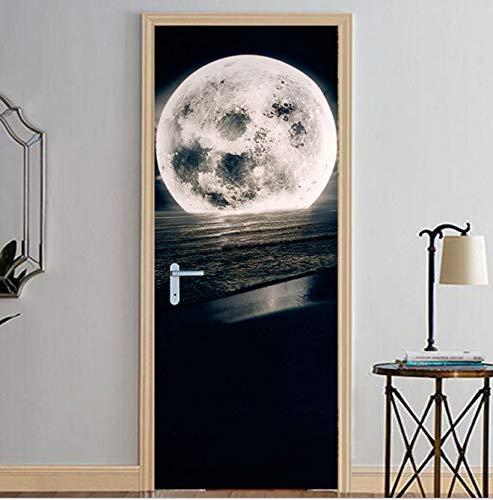 BVCK Home Decor DIY Door PVC Waterproof 3D Print Environmental Sunrise Moon Protection Sticker Self Adhesive Art Paper Bedroom
