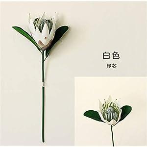 Skyseen 2pcs Artificial Protea Cynaroides Flocked Silk Flower