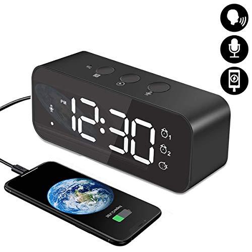 HOMVILLA Digitaler Wecker mit Große LED Display, Nachttisch Wecker mit 2 Alarmen, 12/24 Stunden Tonaufnahmegerät USB Ladeanschluss 3 Stufen Einstellbare Helligkeit Dimmer Snooze Tragbarer (Schwarz)