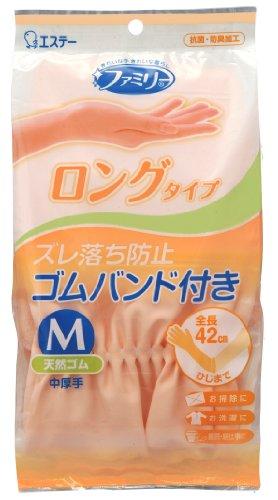 ファミリー 天然ゴム 手袋 中厚手 ロングタイプ 掃除・洗濯用 キッチン Mサイズ ピンク 1組