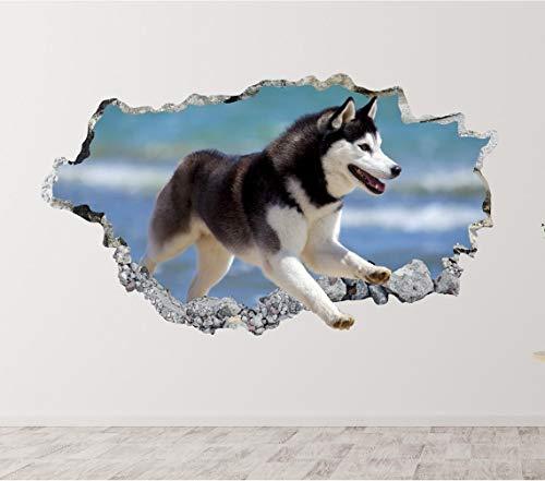 3D-Wandtattoo, entfernbar, Wandbild, Tapeten-Art Decor, Baby-Husky-Wandaufkleber, Art Decor Hund Welpe Aufkleber – 81,3 cm am längsten Ende