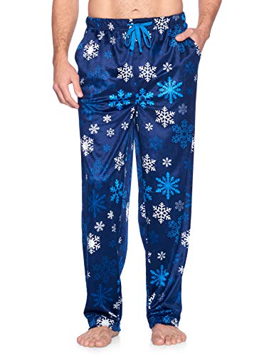 Ashford & Brooks Men's Mink Fleece Sleep Lounge Pajama Pants - Navy Frozen Snowflake - 2X-Large