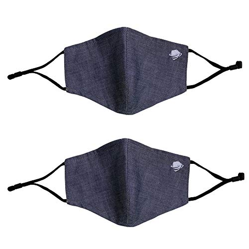 airDefender Breathable Protection Face Masks for Adults, Men and Women - 100% Cotton 3 Ply Cloth Washable Reusable Face Mask - Adjustable Ear Loops with Filter Pocket 2 Pack (Adult, Black Grey)