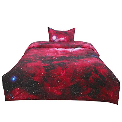 uxcell Twin 2-Piece Galaxies Red Comforter Sets - 3D Space Themed - All-Season Down Alternative Quilted Duvet - Reversible Design - Includes 1 Comforter, 1 Pillow Case