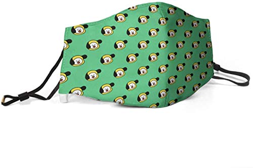 Adults BTS-Chimmy-Green-Kpop Funny Face Mask Cover Green Face Shield Washable Reusable with 2 Filter Made In USA