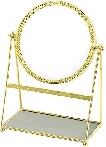 LCJD Espejo de Maquillaje Espejo de Maquillaje Decorativo Dorado Organizador de Maquillaje Espejo cosmético Espejo de rotación de pie con Bandeja de joyería Soporte para Pendientes