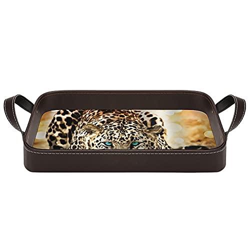 bandeja de cuero,bandeja de tocador decorativa,Diseño Animal Tiger Impresión Digital,Bandeja de utilidad Oficina en casa Viaje Café Ba