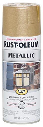 Rust-Oleum 286524 Stops Rust Metallic Spray Paint, 11 oz, Warm Gold