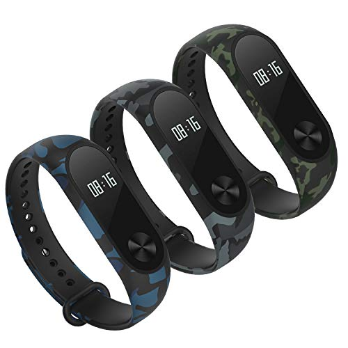 Hianjoo Strap [3 Pack] Compatible with Xiaomi Mi Band 2, Adjustable Sport Accessory Soft Wristband Bracelet Replacement for Xiaomi Mi Band 2 (Camouflage Type Blue, Green, Grey)