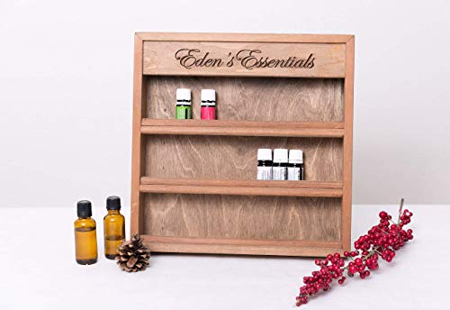 "Personalized Engraved Essential Oil Storage Wood Shelf Rack - 13"" x 13"""